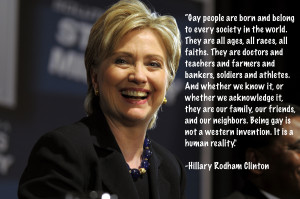 Hillary Clinton on LGBT equality.