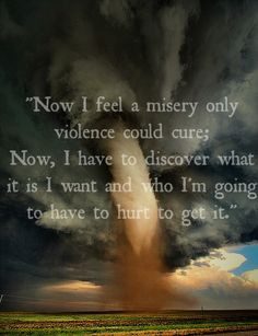 Now I feel a misery only violence could cure; now, I have to discover ...