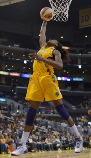 WNBA: Seattle Storm at Los Angeles Sparks, Nneka Ogwuimike goes for a ...
