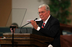 Elder M. Russell Ballard speaks at a CES devotional on Sunday, May 4.