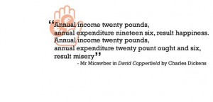 quote about sticking to a budget from the Charles Dickens book David ...