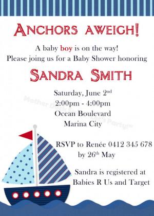 Nautical Baby Shower / Sailboat Baby Shower