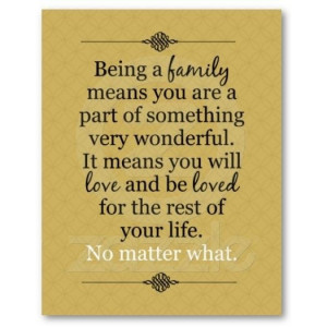 being a family means...