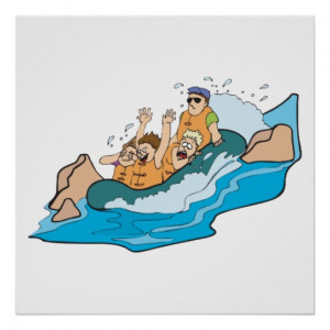 funny family whitewater rafting cartoon posters