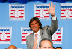 Dennis Eckersley Hall of Famer Dennis Eckersley is introduced during