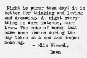 elie wiesel dawn night time poem poetry night