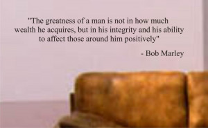 greatness of a man BOB MARLEY QUOTE decal sticker