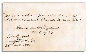 Confederate Vice-President Alexander Stephens Autograph Quote Signed ...
