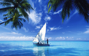 Traditional dhoni, Maldives, Indian Ocean