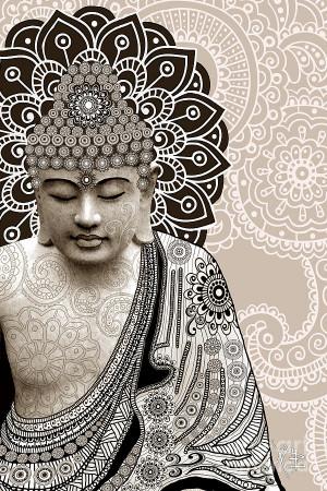 Meditation Mehndi - Paisley Buddha Artwork - Copyrighted Digital Art