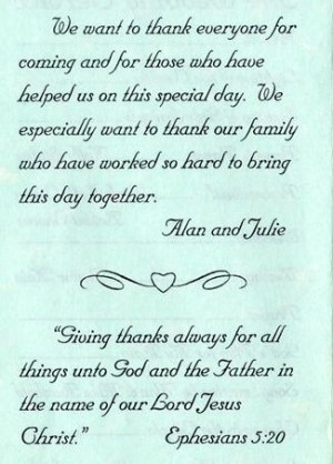Wedding Program Thank You Examples