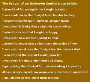 The Prayer of an Unknown Confederate Soldier
