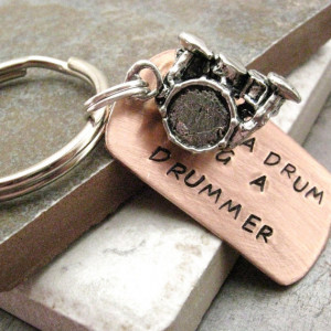 Save a Drum Bang a Drummer Stamped Keychain, comes with drum set charm ...