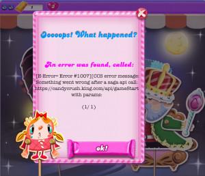 Buggish: Cannot Start a Level in Dreamworld of Candy Crush Saga