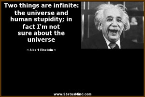 ... universe and human stupidity; in fact I'm not sure about the universe