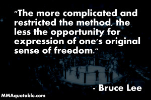 Bruce Lee quote on Restrictions and Freedom