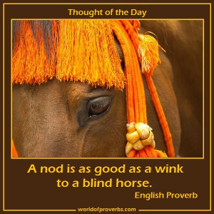 Proverbs - Famous Quotes: A nod's as good as a wink to a blind horse ...
