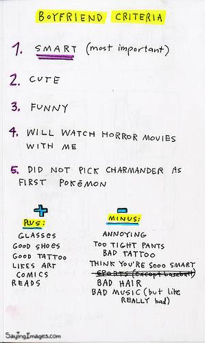 Boyfriend criteria Funny Quote Picture