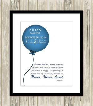 Baby boy nursery, nursery quote, Peter Pan, ballon wall art, birth ...
