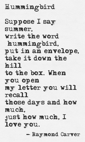 Hummingbird by Raymond CarverRaymond Carver