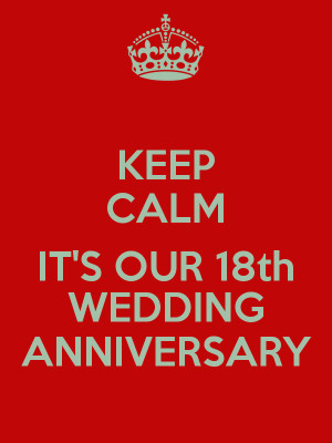 KEEP CALM IT'S OUR 18th WEDDING ANNIVERSARY