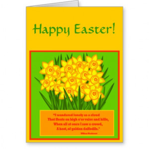 Daffodils Poem, Happy Easter card
