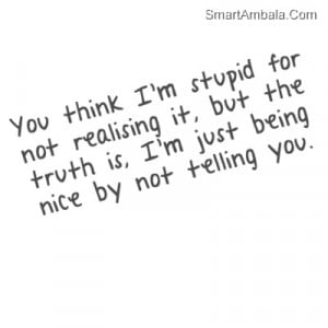You're Stupid And I Never