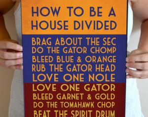 ... , Football Quote Poster Sign, Florida Gators Football Decor 11 x 17