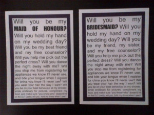 How did you ask your Bridesmaid's?