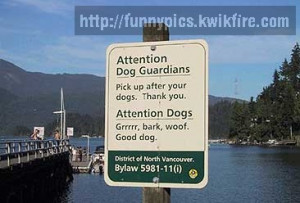 funny no dog poop signs