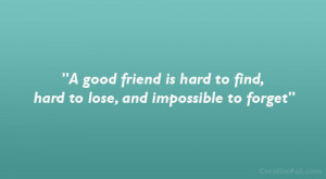 good friend is hard to find, hard to lose, and impossible to forget ...