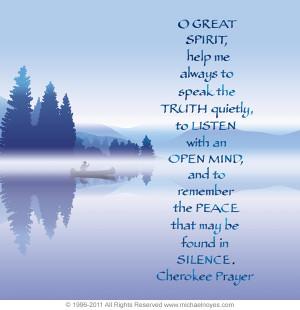 Native American Cherokee Indian Prayer