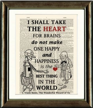 Wizard of Oz Tin Man Heart Quote 2-vintage book page print image on a ...
