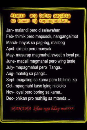 ... Love Life based from your Birth Month - Tagalog Funny Quotes Images
