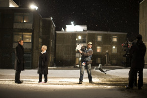 Dame Judi Dench and Bond filming a scene
