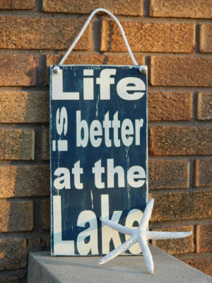 Life is better at the lake, wood sign- with nautical rope-lakehouse ...