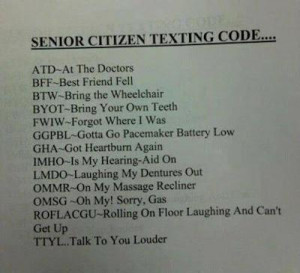 Senior Citizen Texting Code