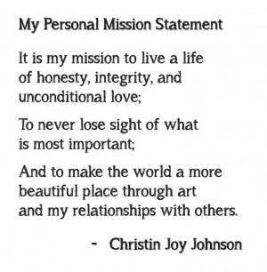 Personal Mission Statement Mission Statement