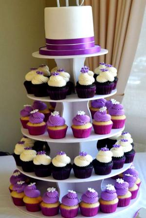 White And Purple Wedding Cupcakes