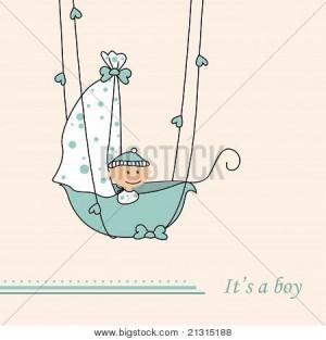 Baby boy arrival announcement retro card