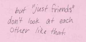 boy, couples, girl, inspiring, just friends, love, pink, quote, saying ...