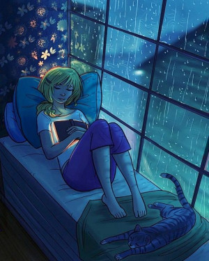 Sleeping With Book Rainy Day Cat...