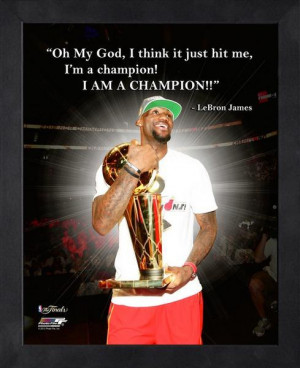 Miami Heat LeBron James Champion Framed Pro Quote