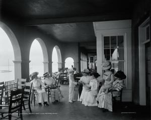 On the veranda at the Detroit Boat Club, Detroit, Michigan, ca.1900-10