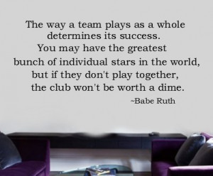 Vinyl Wall Lettering Words Sport Quote Babe Ruth TEAM
