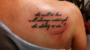 Survivor Quote Cancer Tattoo