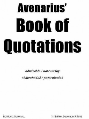 avenarius book of quotations will include quotations from dozens of ...