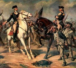 Print, reproduction of Washington at the Battle of Monmouth. Original ...