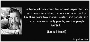 Gertrude Johnson could feel no real respect for, no real interest in ...