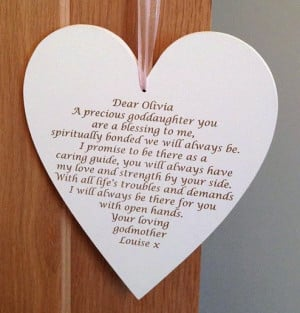 ... Christening & Birth → Goddaughter/Godson Personalised Large heart